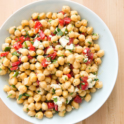 Chickpea Salad with Roasted Red Peppers and Feta