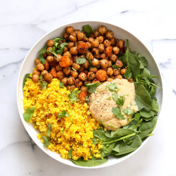 Chickpeas Turmeric Cauliflower Rice Black Pepper Hummus Bowl