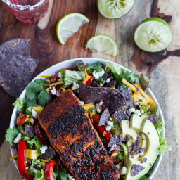 Chile Lime Salmon Fajita Salad with Cilantro Lime Vinaigrette.