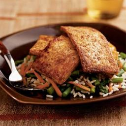 Chili-Glazed Tofu over Asparagus and Rice