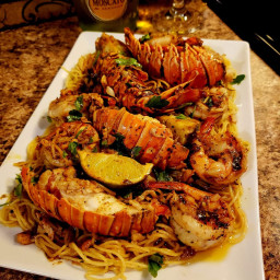 Chili lime lobster and shrimp with angel hair pasta!