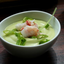 Chilled Avocado Soup With Shrimp And Chives