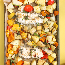 Chilli Basil Roasted Fish and Veggie Sheet Pan Dinner
