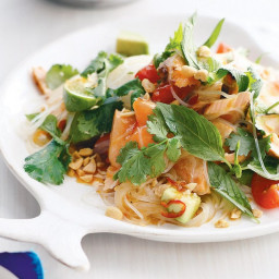 Chilli salmon noodle salad with lime and herbs