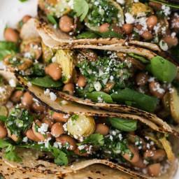 Chimichurri Potato Tacos with Pinto Beans