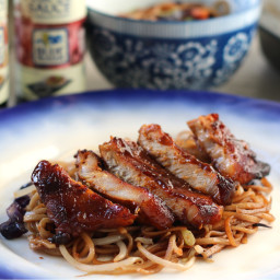 Chinese BBQ Pork Chops with Chow Mein Noodles