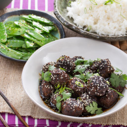 Chinese Five-Spice Meatballswith Snow Peas and Jasmine RIce