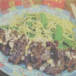 Chinese Garlic Steak with  Asian Noodles