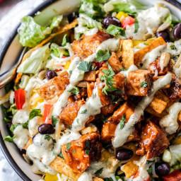 Chipotle BBQ Chicken Salad with Tomatillo Avocado Ranch