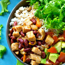 Chipotle Chicken and Beans Rice Salad Bowls