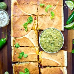Chipotle Chicken Sheet Pan Quesadilla with Avocado Salsa Verde