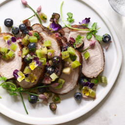 Chipotle Pork Loin with Blueberry–Kiwi Salsa