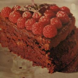 Chocolate Almond Torte with Raspberries