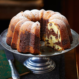 Chocolate and almond marbled bundt cake