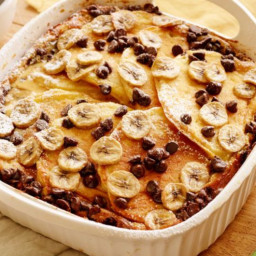 Chocolate-Banana Pancake Breakfast Casserole