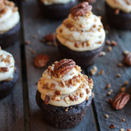 Chocolate Bourbon Pecan Pie Cupcakes with Butter Pecan Frosting.