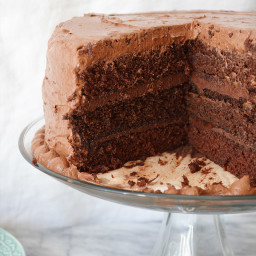 Chocolate Cake with a Chocolate Ganache Filling and Chocolate Buttercream F