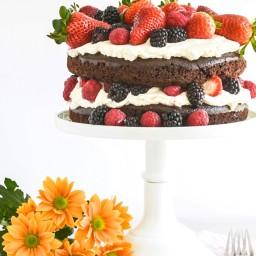 Chocolate Cake with Mascarpone Cream & Berries
