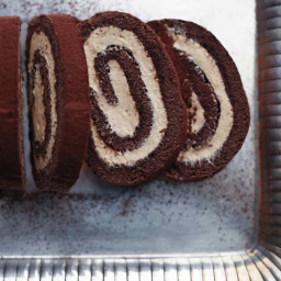Chocolate-Caramel Swiss Roll