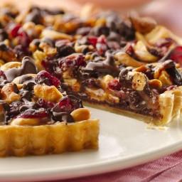 Chocolate-Cashew-Cranberry Tart