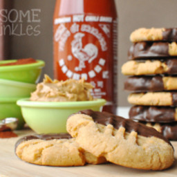 Chocolate Chili Dipped Sriracha Peanut Butter Cookies