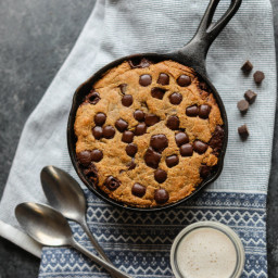 Chocolate Chip Almond Butter Skillet Cookie