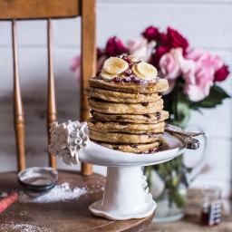 Chocolate Chip Banana and Ricotta Chia Pancakes.