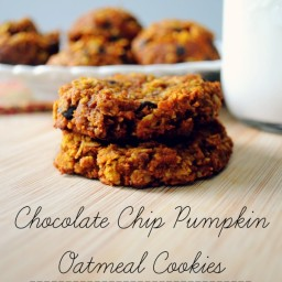 Chocolate Chip Pumpkin Oatmeal Cookies (vegan and gluten-free)