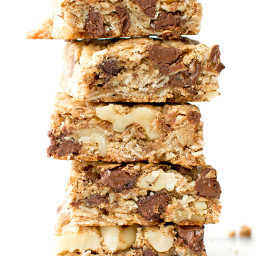 chocolate chip walnut cookie bars - vegan, gluten-free