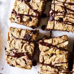 Chocolate Chip Zucchini Banana Breakfast Bars (vegan and gluten-free)
