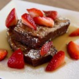 Chocolate Chunk Banana Bread French Toast with Fresh Strawberries