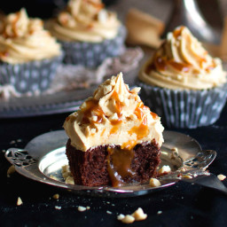 Chocolate Cupcakes with Peanut Butter Cream and Caramel Sauce