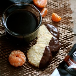 Chocolate-Dipped Almond and Orange Shortbread