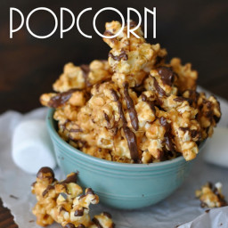 Chocolate Drizzled Peanut Butter Popcorn