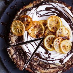 Chocolate Fudge Swirled Lemon Ricotta Tart