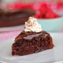 Chocolate Ganache Cake with Raspberries and Almond Cream