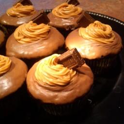 Chocolate Glazed Dark Chocolate Cupcakes  with Peanut Butter Cream filling