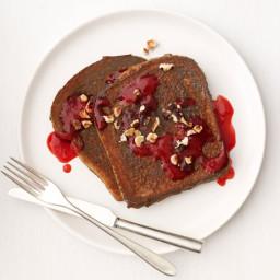 Chocolate-Hazelnut French Toast With Raspberry Syrup
