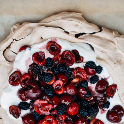 Chocolate Pavlova with Cherries and Mulberries