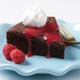 Chocolate-Stout Vinegar Cake With Raspberry Coulis