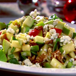 Chopped Apple Salad with Toasted Walnuts, Blue Cheese and Pomegranate Vinai
