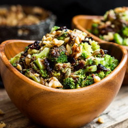 Chopped Broccoli Salad with Balsamic, Walnuts and Cranberries