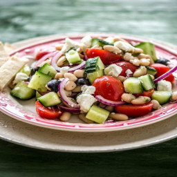 Chopped Greek Salad with Cannellini Beans, Olives, and Toasted Pita