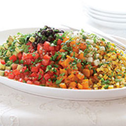 Chopped Mexican Salad with Roasted Peppers, Corn, Tomatoes and Avocado