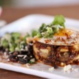 Chorizo-Potato Hash Browns with Black Beans and Salsa Verde
