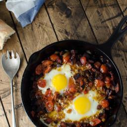 Chorizo Tomato and Egg Breakfast Skillet