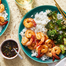 Chrissy Teigen's Garlic & Soy-Glazed Shrimp with Charred Broccoli  &