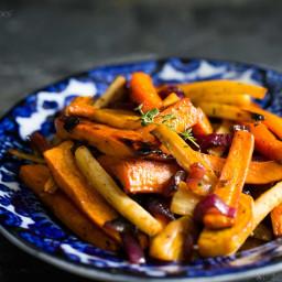 Cider Vinaigrette Roasted Root Vegetables