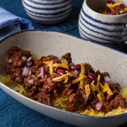 Cincinnati Chili Over Spaghetti Squash