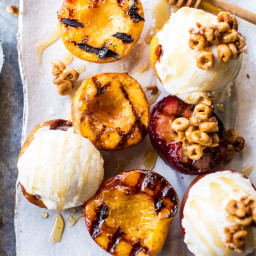 Cinnamon Grilled Peaches with Mascarpone Ice Cream and Honey Nut Cheerio Gr